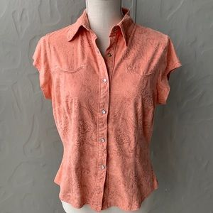 Outback Trading Co Snap Front Shirt Pink M